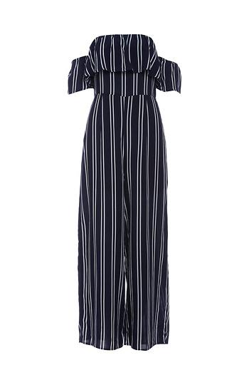Off Shoulder Vertical Striped Jumpsuit In Navywhite Dailylook