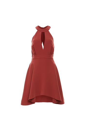 C/MEO Front Keyhole Halter Pocket Swing Dress Slide 1