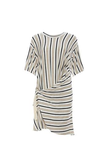 Striped Side Belt Wrap Dress Slide 1