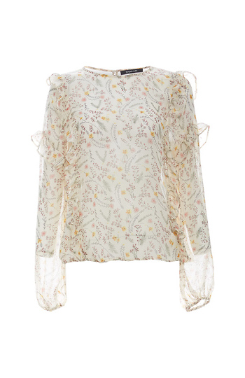 Sheer Printed Ruffle Detail Blouse Slide 1