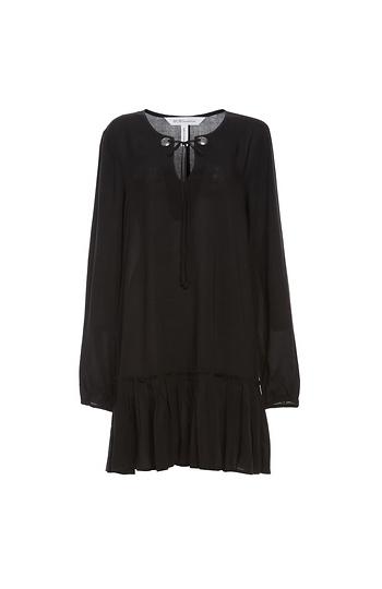 BCBGeneration Long Sleeve Lace-Up A-Line Dress Slide 1