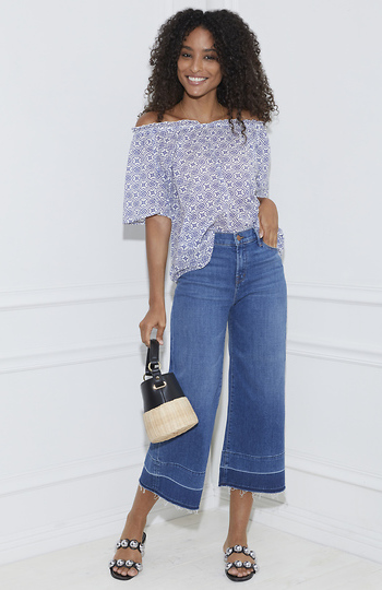 Velvet by Graham & Spencer Cotton Shirting Off Shoulder Top Slide 1