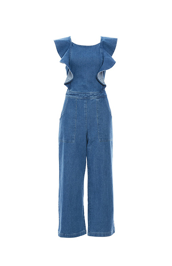 Ruffled Sleeve Denim Jumpsuit Slide 1