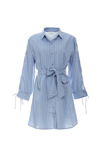 Striped Button Down Waist Tie Dress Slide 1