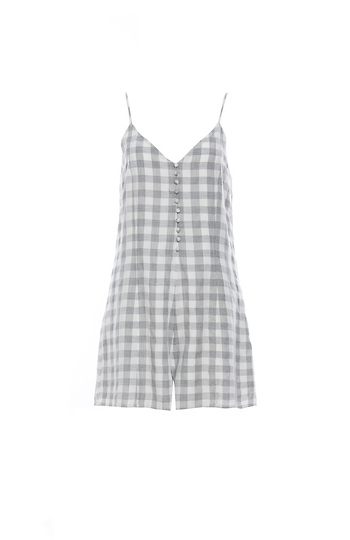Front Button Grainy Plaid Romper Slide 1