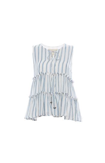 Moon River Tiered Stripe Top Slide 1