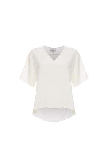 3.1 Phillip Lim Short Sleeve Top with Raw Edge Trim Slide 1