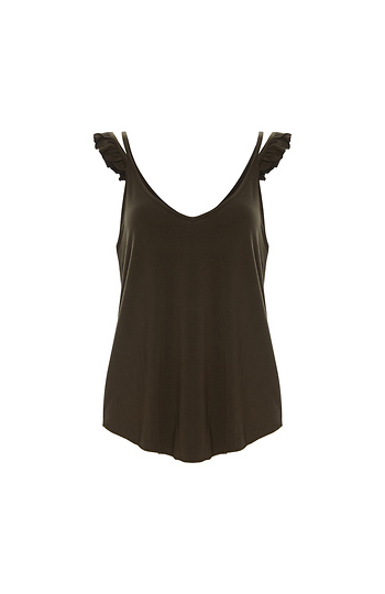 Chaser Cool Jersey Ruffle Strap Double V Cami Slide 1