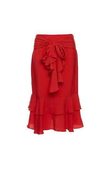 Front Tie Ruffle Skirt Slide 1