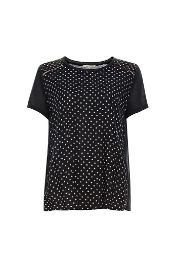 Mystree Short Sleeve Print Front Top Slide 1
