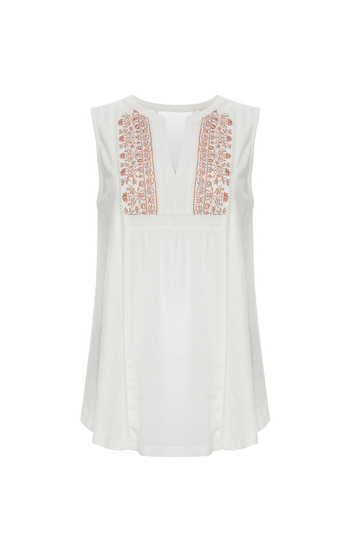 Mystree Embroidered Front Sleeveless Top Slide 1