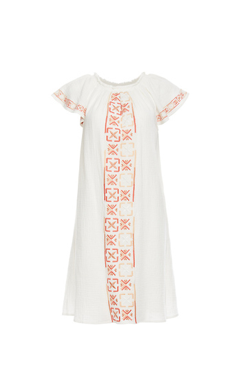 Mystree Short Sleeve Embroidered Dress Slide 1