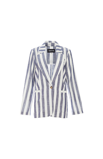 Oversized Striped Blazer Slide 1