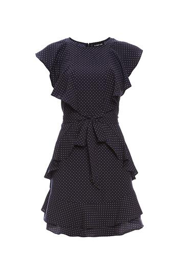 Sara Flutter Sleeve Polka Dot Dress Slide 1