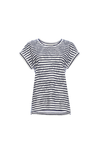 Skies Are Blue Embroidered Leaves Striped Tee Slide 1
