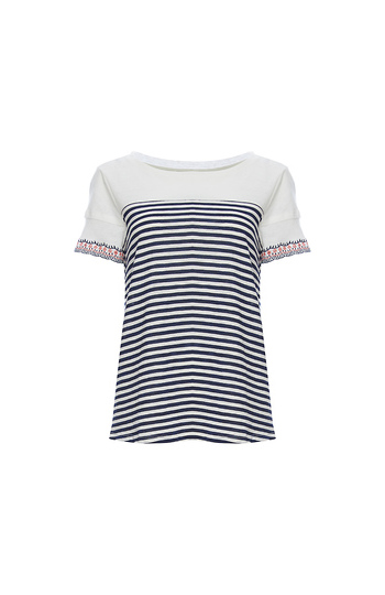 Skies Are Blue Embroidered Cuff Striped Tee Slide 1