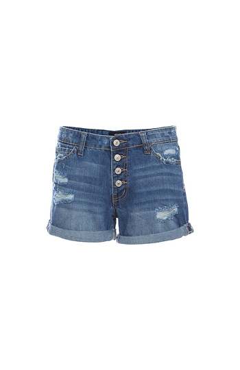 Vervet Button Up Cuffed Boyfriend Shorts Slide 1