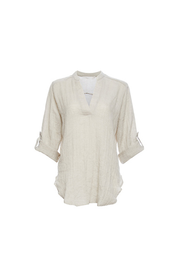 Lush Split Neck Roll Cuff Tunic Slide 1