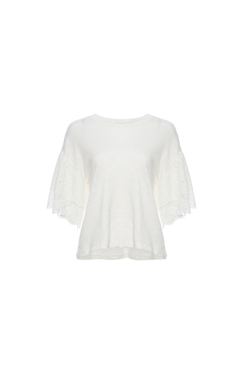 Lush Eyelet Ruffle Sleeve Top Slide 1