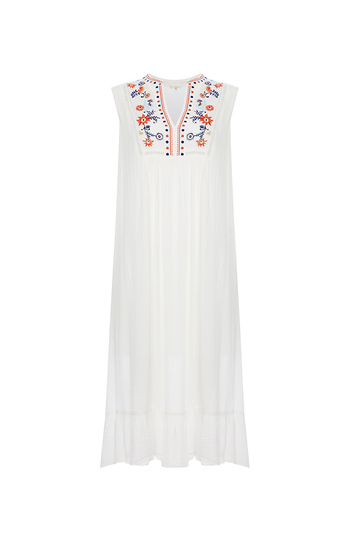 En Creme Embroidered Midi Dress Slide 1