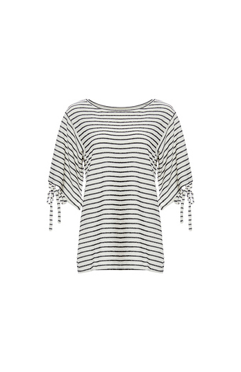 Striped Tied Sleeves Top Slide 1