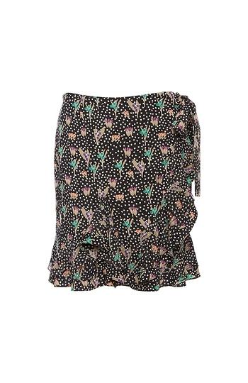 GOEN.J Floral Printed Ruffle Wrap Skirt Slide 1