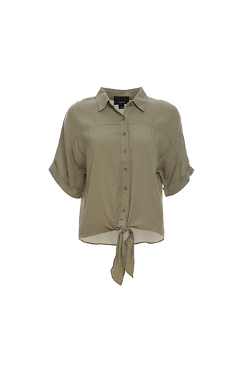 Front Tie Dolman Sleeve Button Up Top Slide 1