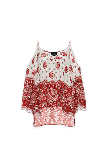 V-Neck Cold Shoulder Printed Top Slide 1