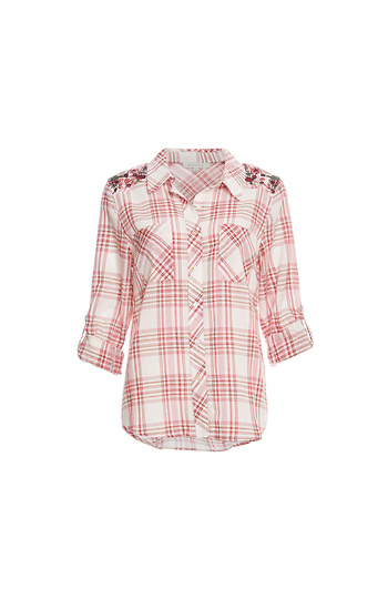 Skies Are Blue Embroidered Shoulders Plaid Shirt Slide 1