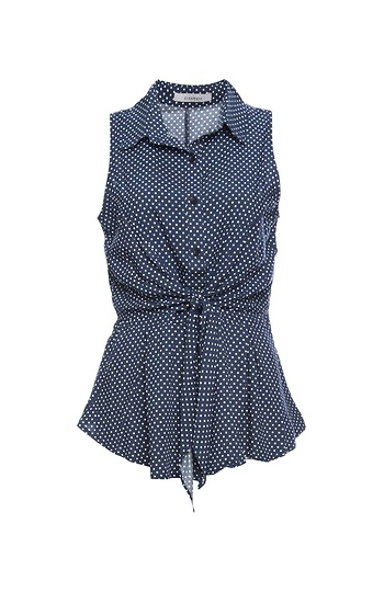 Short Sleeve Button Up Front Tie Top Slide 1