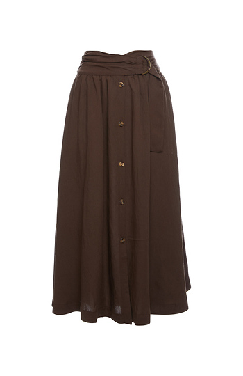 Button Up Front Midi Skirt Slide 1