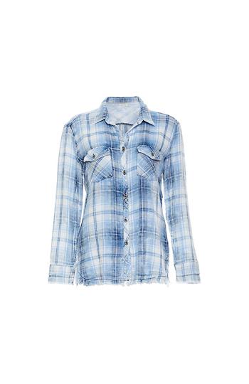 Raw Hem Button Up Plaid Shirt Slide 1