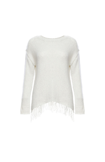 Velvet by Graham & Spencer Chunky Fringe Hem Sweater Slide 1