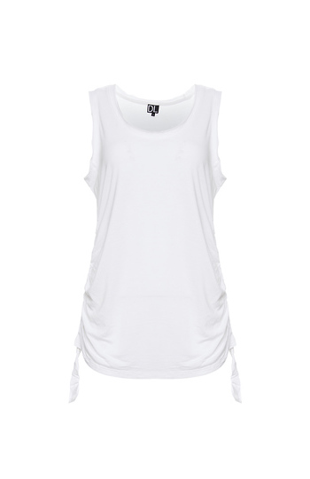 Drapey Rayon Tank Top with Shirred Sides Slide 1