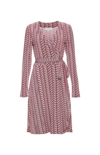 Long Sleeve Printed Wrap Dress Slide 1