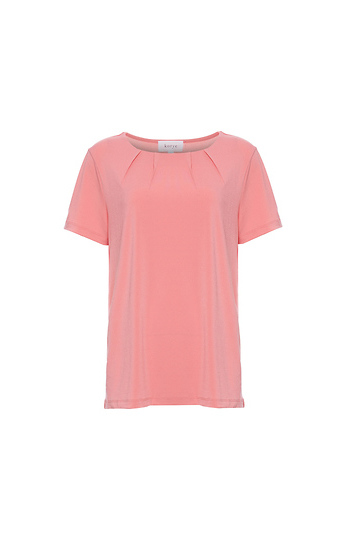 Short Sleeve Pleated Neck Top Slide 1