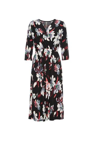 Surplice Front Three-Quarter Sleeve Dress Slide 1