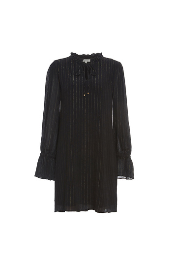 Neck Tie Long Sleeve Shift Dress Slide 1