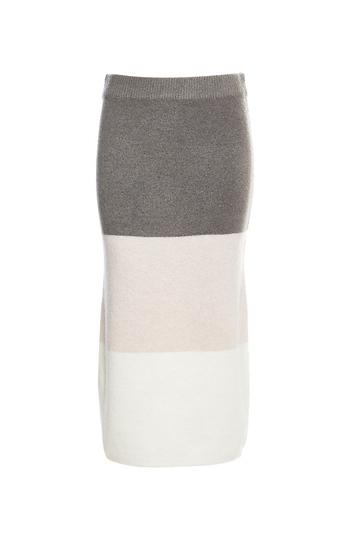 Color Block Knitted Pencil Skirt Slide 1