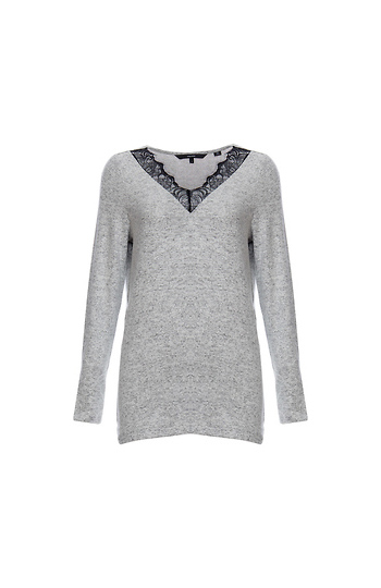 Vero Moda V-Neck Lace Detail Sweater Slide 1