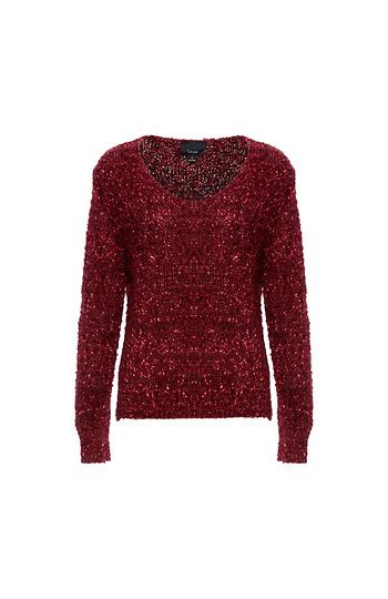 V-Neck Novelty Sequins Sweater Slide 1