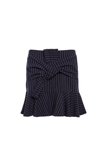 Front Knot Pinstripe Skirt Slide 1