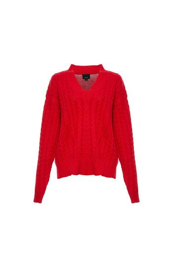 V-Neck Cable Knit Sweater Slide 1