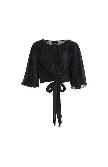 Front Knot Pleated Blouse Slide 1