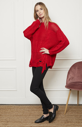 Cable Knit Ragged Mock Neck Sweater Slide 1