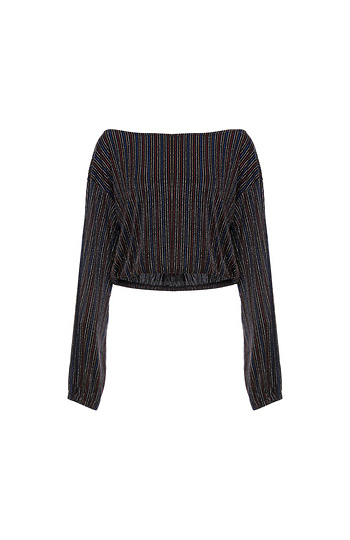 Lurex Striped Cropped Long Sleeve Top Slide 1