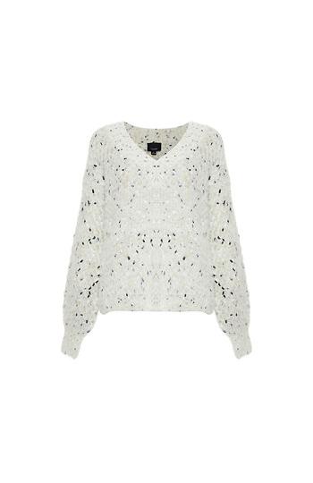 V-Neck Speckled Fuzzy Sweater Slide 1