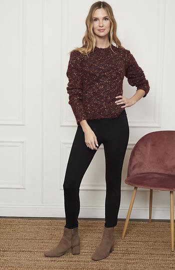 Open Back Speckled Sweater Slide 1