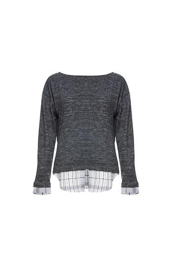 Crew Neck Sweater with Under Shirt Slide 1