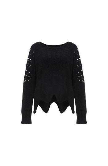 Asymmetrical Hem Sweater with Pearls Slide 1